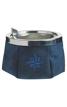 ASHTRAY SIMIL SUEDE FABRIC BLUE